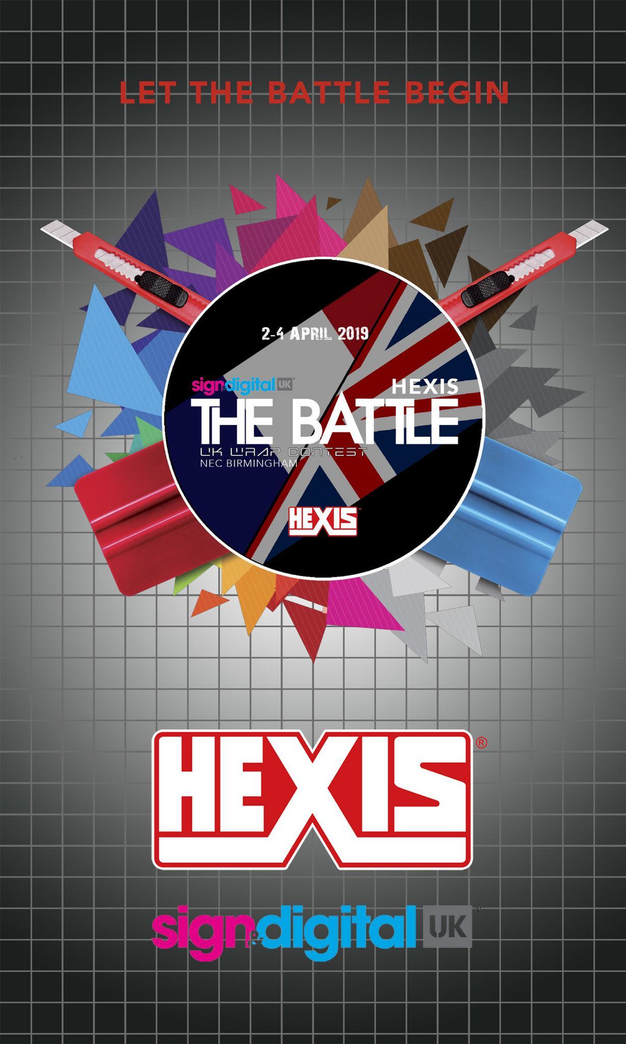 D Printing Exhibition Nec : Hexis battle sign digital signage print display